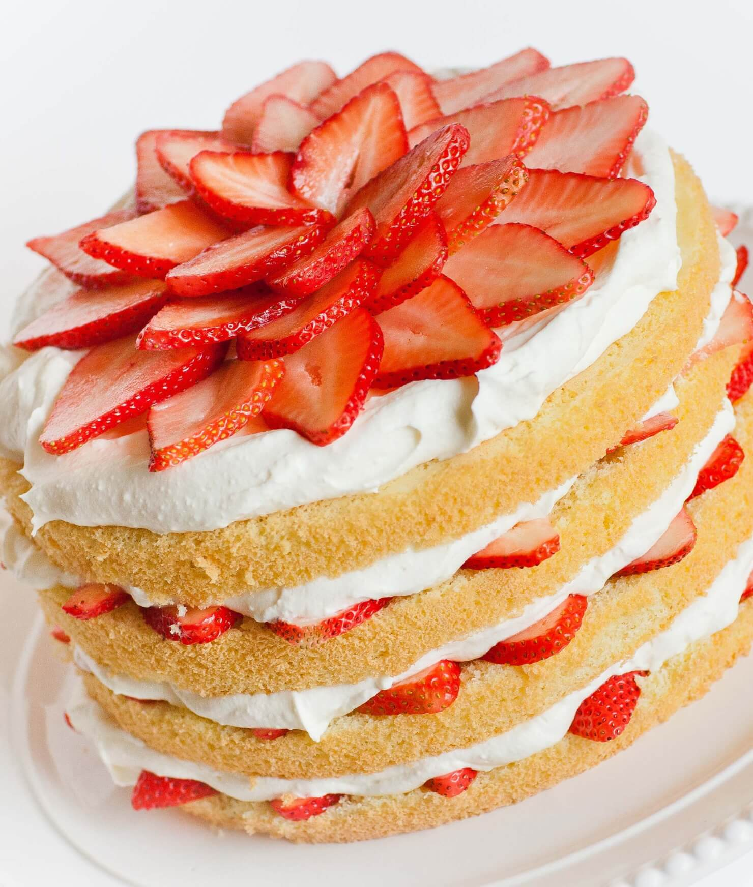 strawberries and cream sponge cake