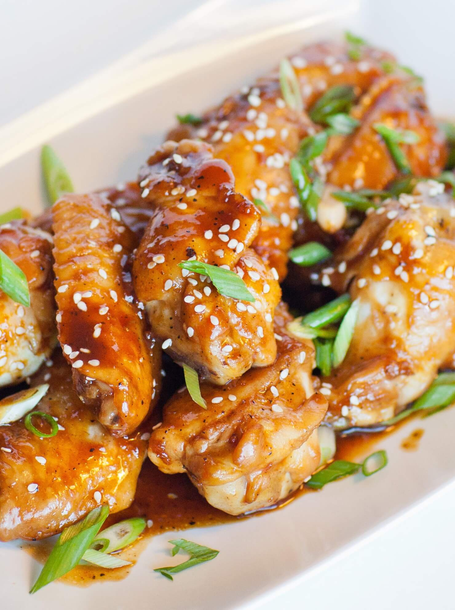 teriyaki chicken party wings with sesame seeds