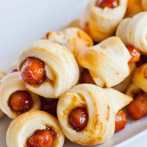 teriyaki glazed mini sausage in dough