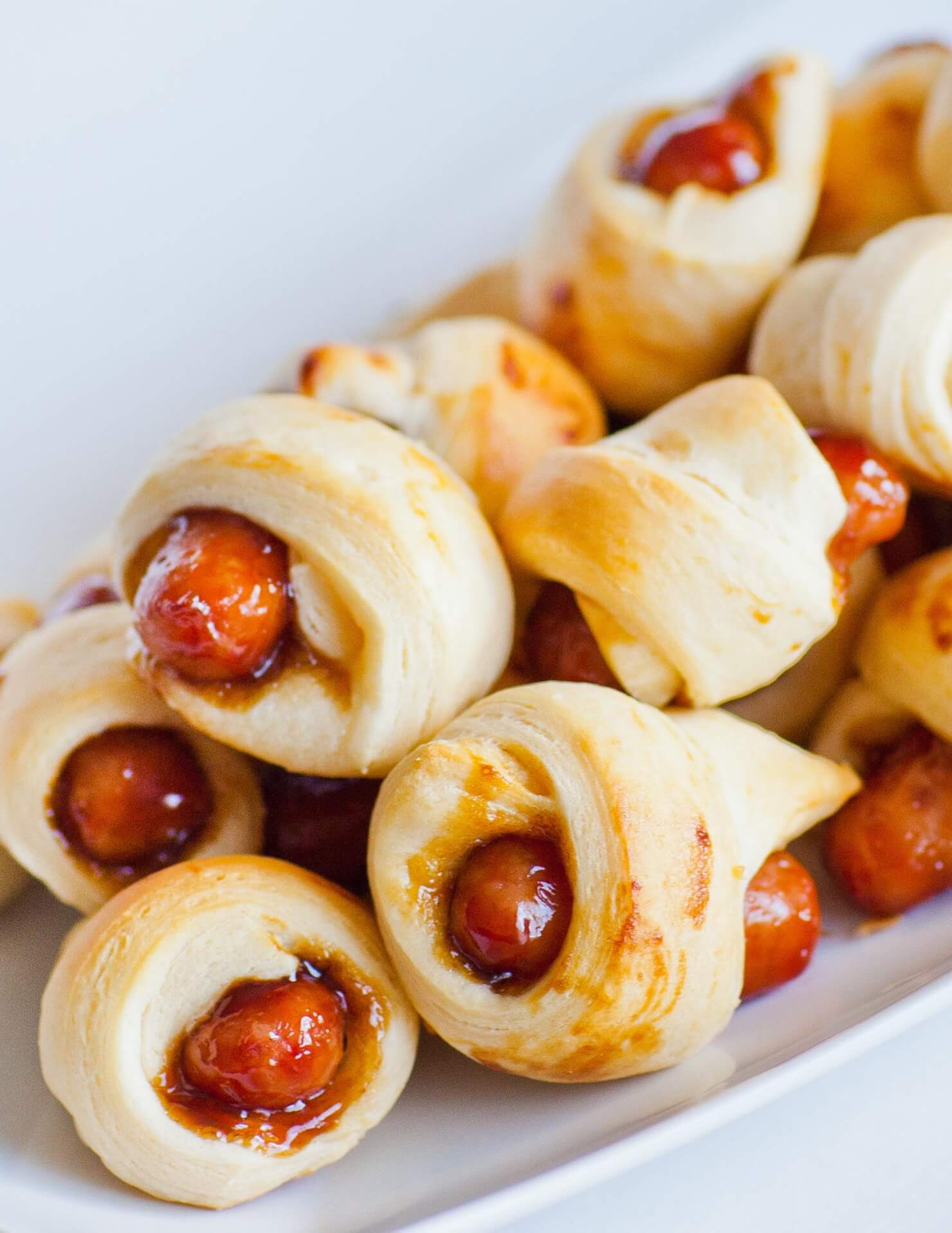 teriyaki glazed mini sausage in dough