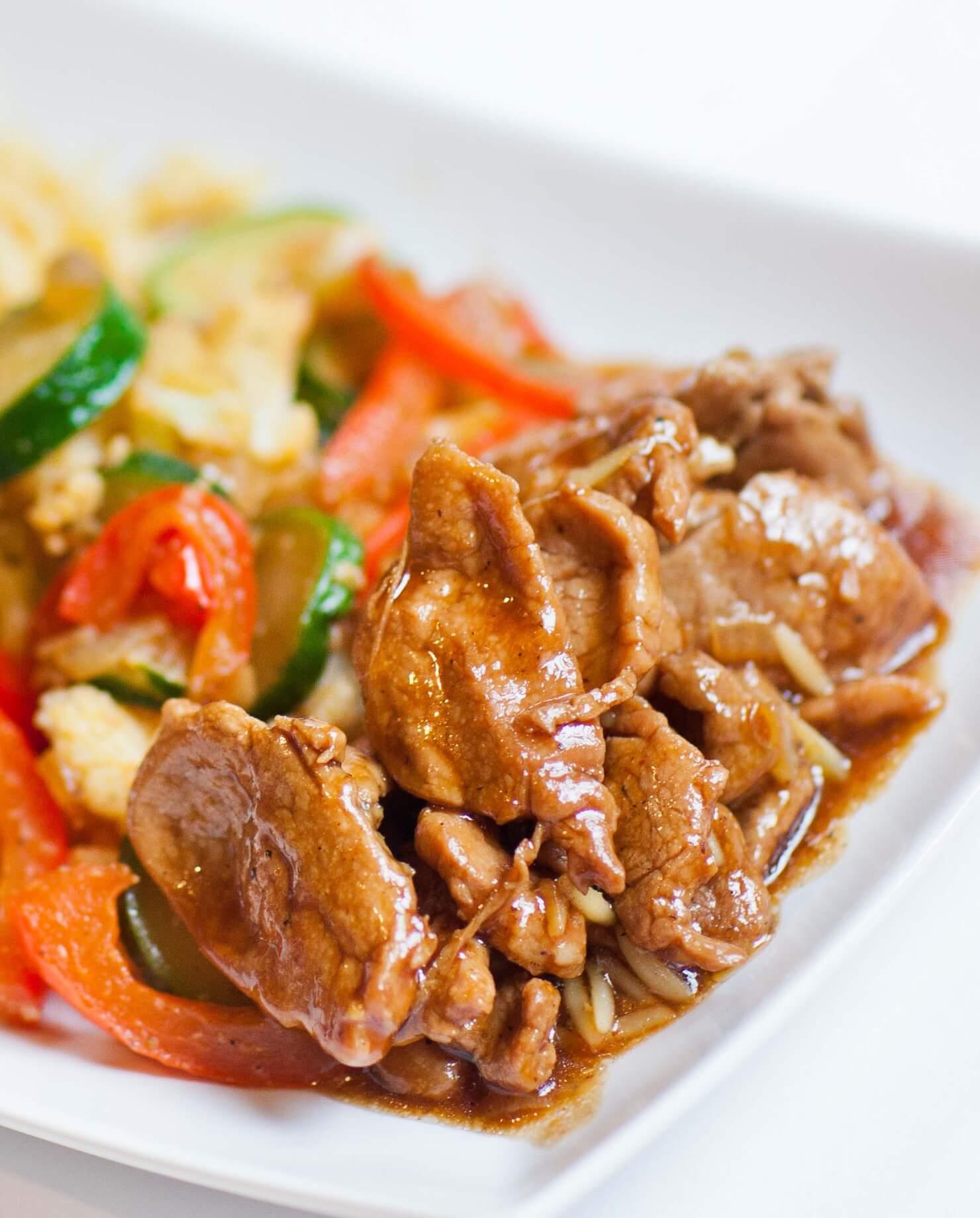 teriyaki pork with veggies