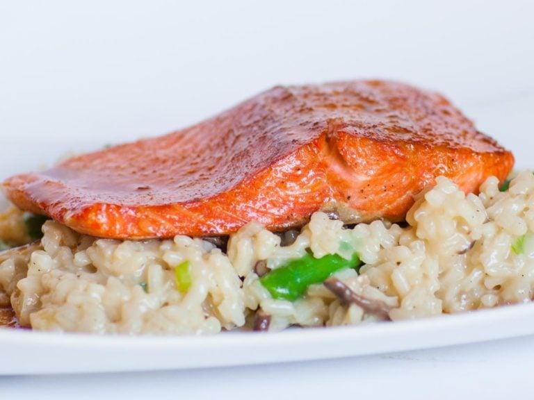 glazed teriyaki salmon over creamy shiitake asparagus risotto