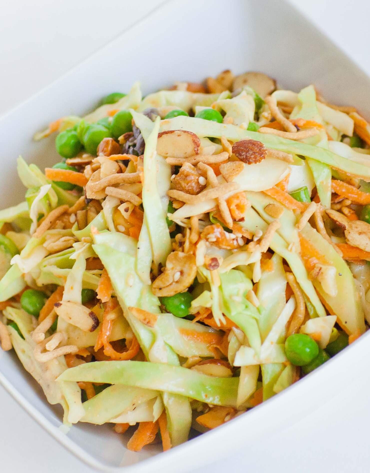 Thai Cabbage Slaw with Chicken & Peanut Sauce