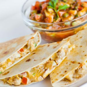 cheesy chicken quesadillas with salsa