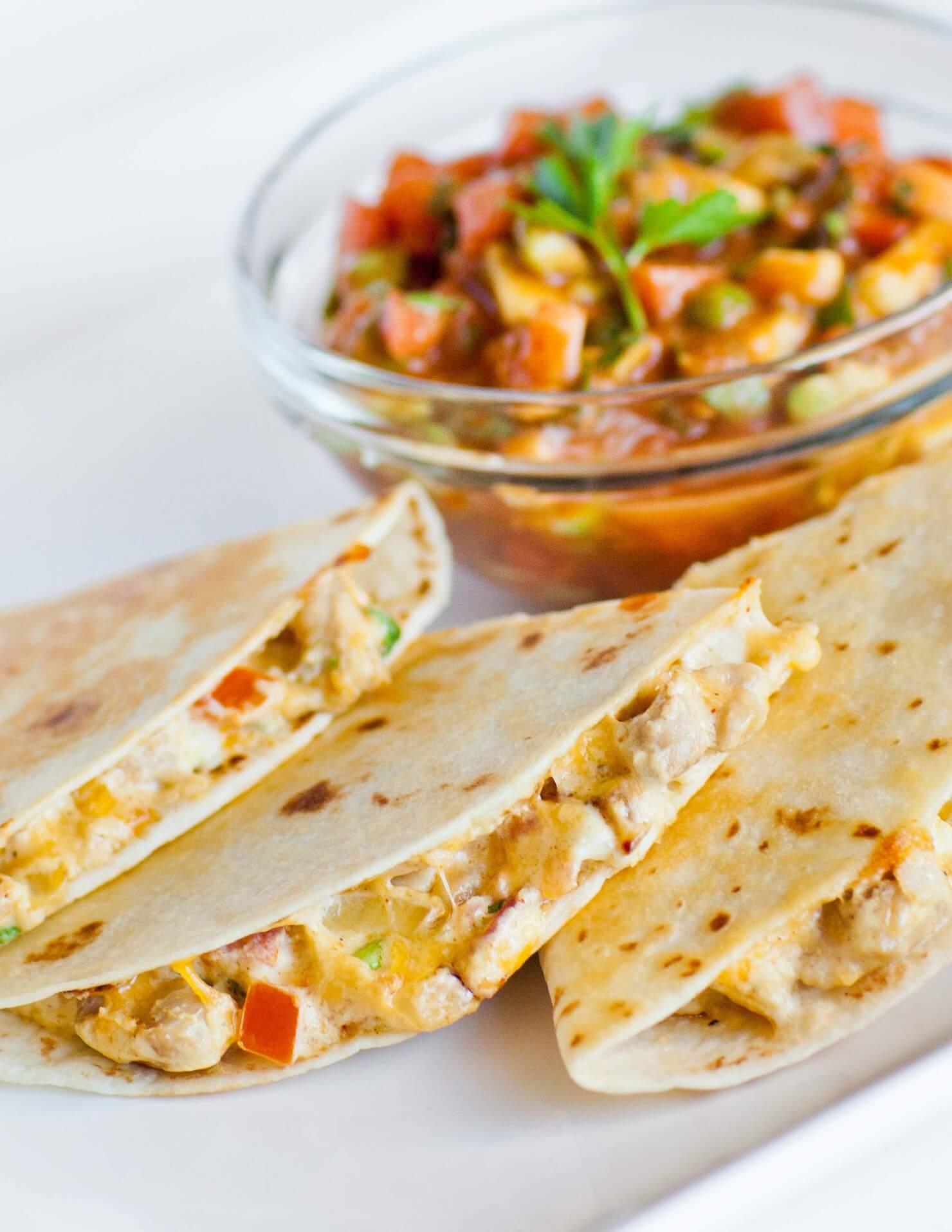 cheesy chicken quesadillas with salsa