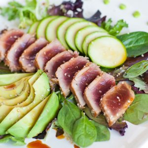 seared ahi tuna salad with avocado