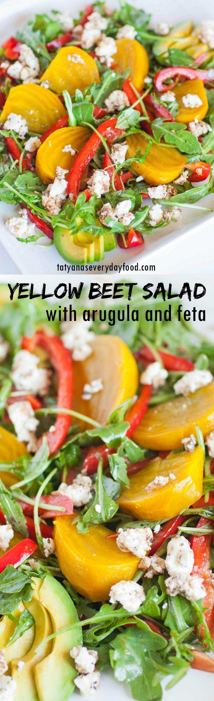 Yellow Beet Salad with arugula and feta cheese