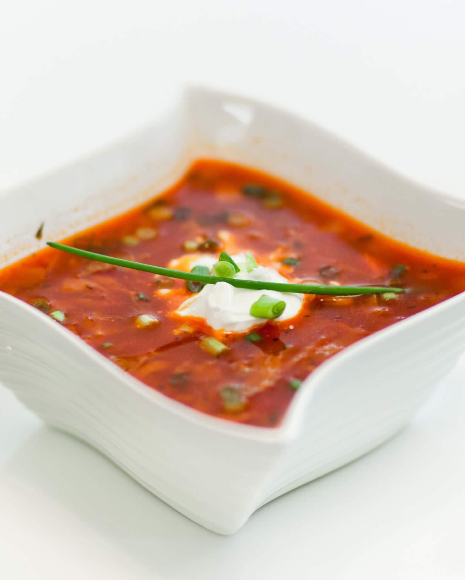 red beet and beef borscht
