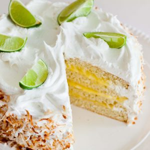 sliced coconut lime cake with lime curd