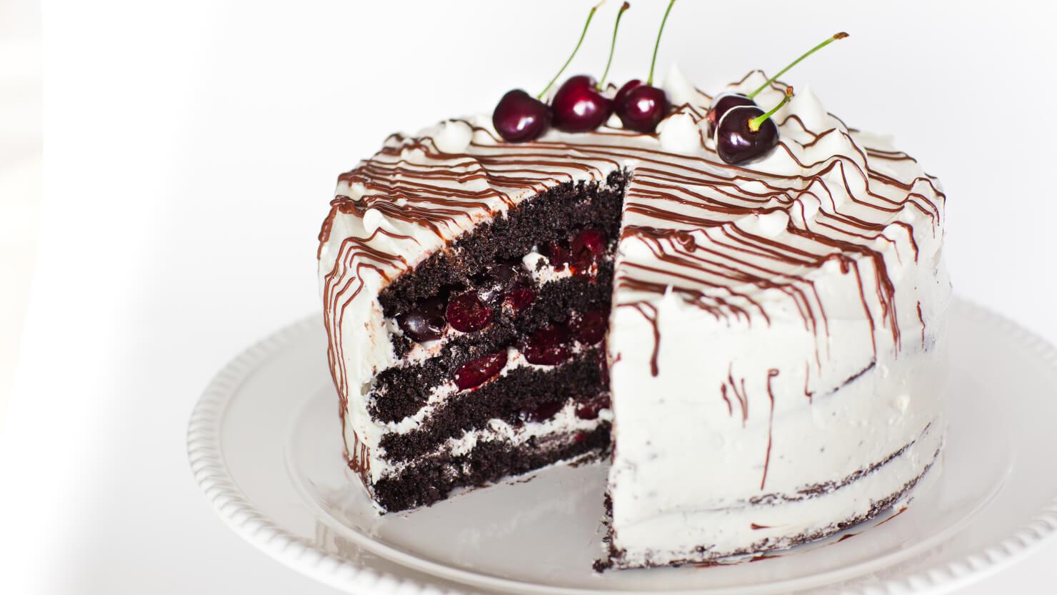 Italian Rum Cake Recipes From Scratch: Chocolate Cherry Rum Cake With Meringue Butter Cream