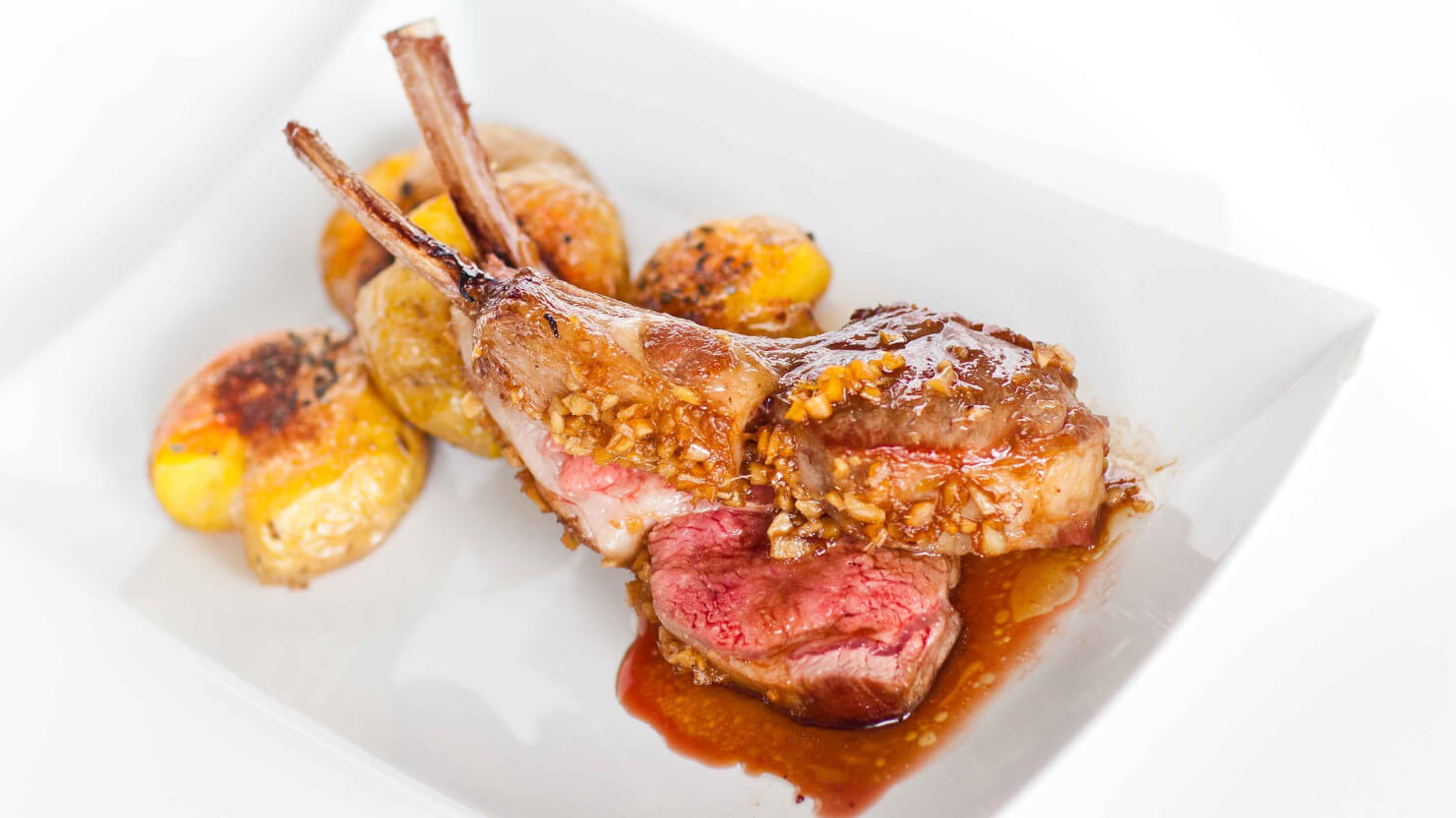 Garlic Ginger Glazed Lamb Chops with Crush Baby Potatoes