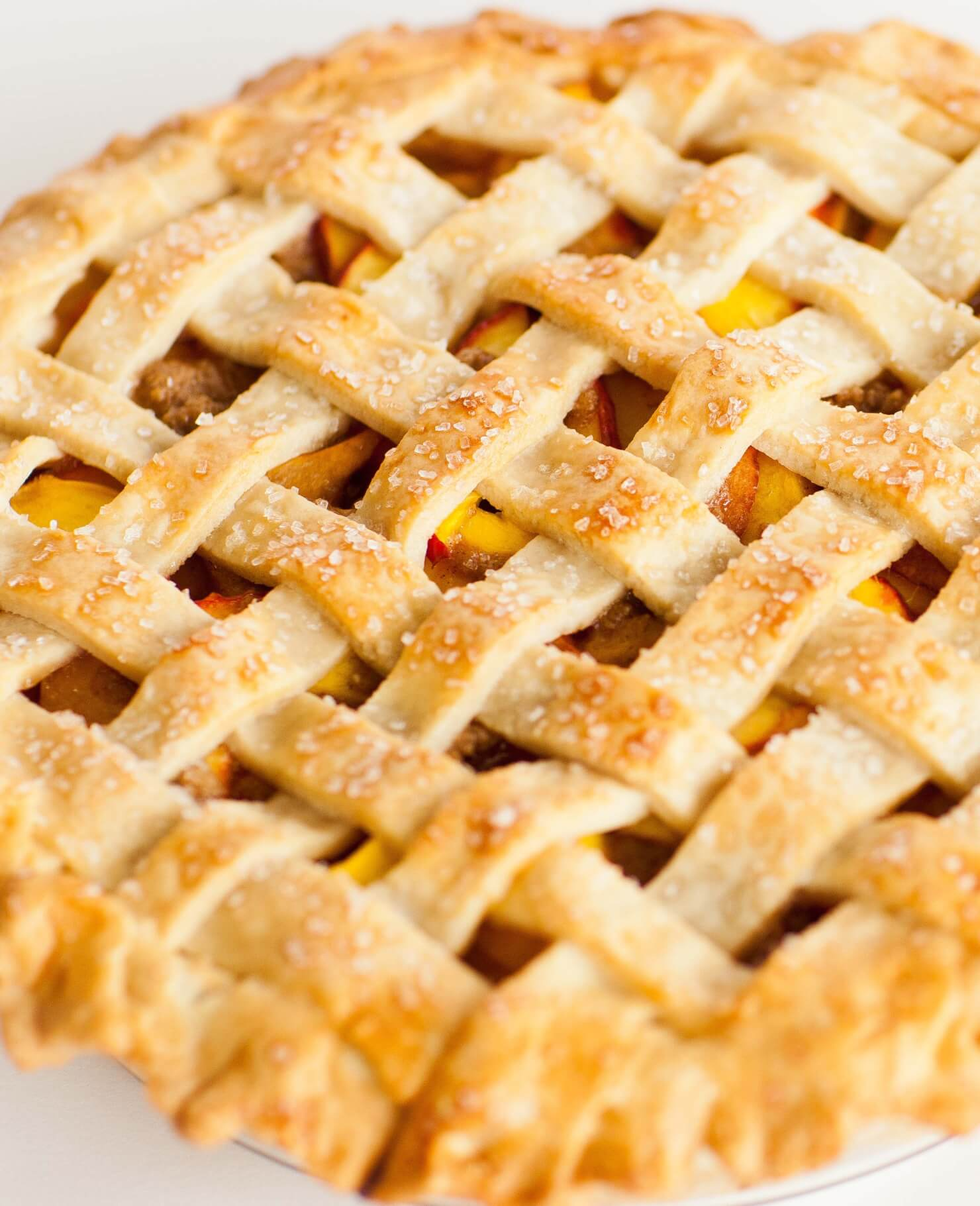 peach pie with lattice topping