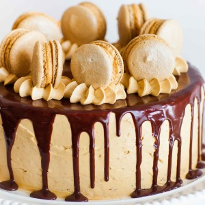 Coffee Caramel Cake with Chocolate Ganache with video tutorial