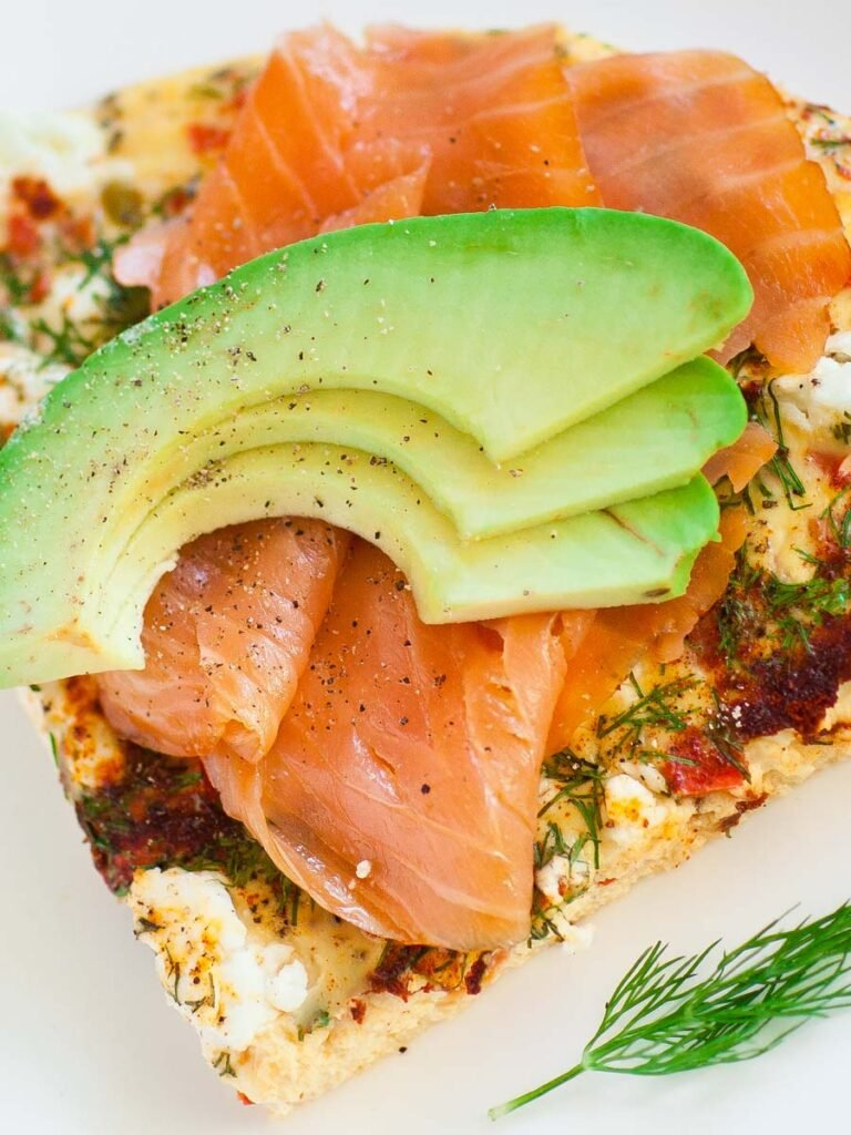 pepper and cheese frittata with avocado and smoked salmon