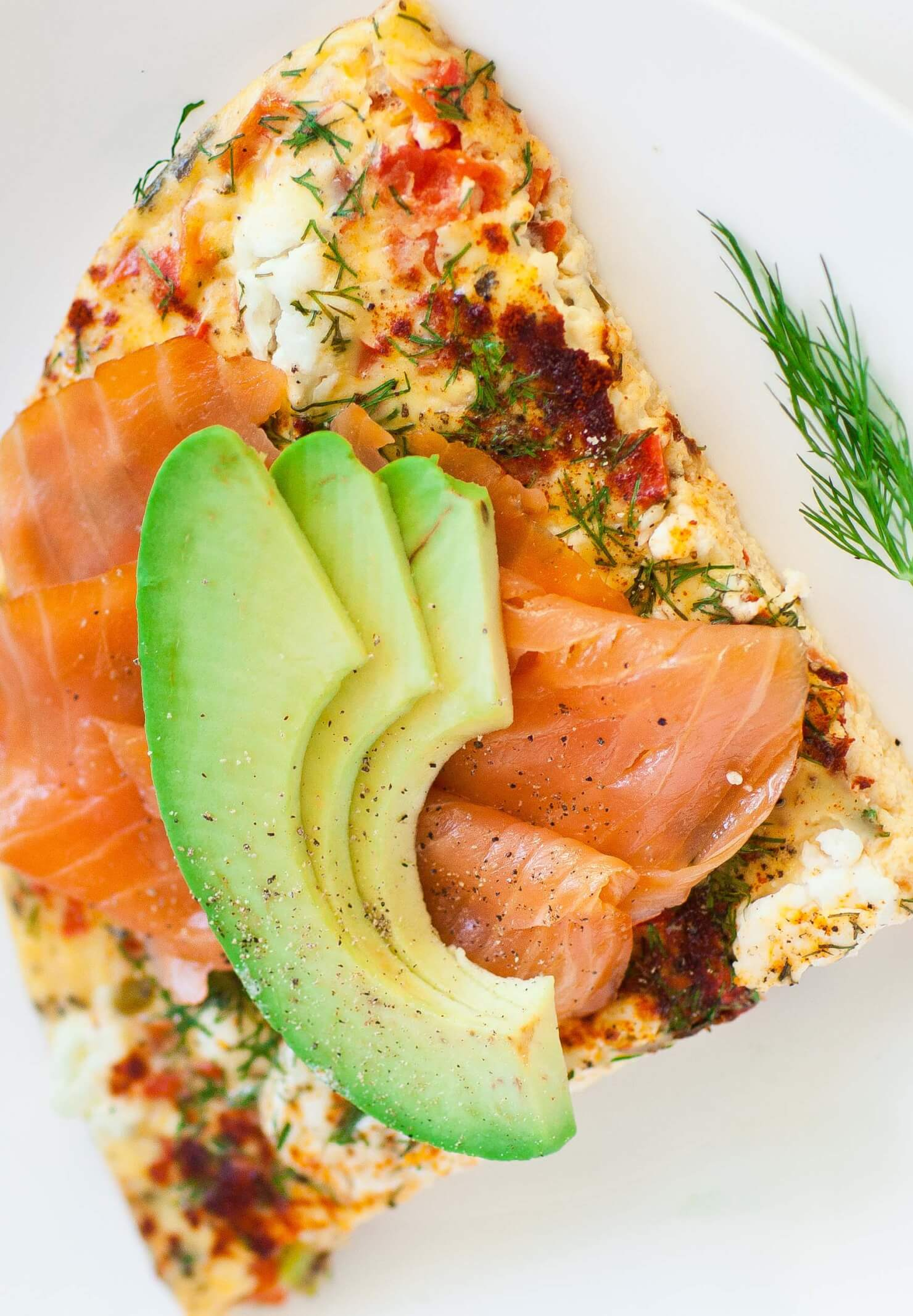 cheese fritatta with smoked salmon and avocado