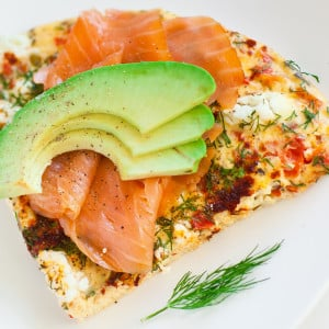 Pepper and Dill Frittata with Goat Cheese and Smoked Salmon