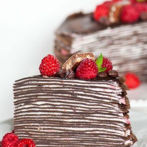 chocolate crepe cake with raspberries