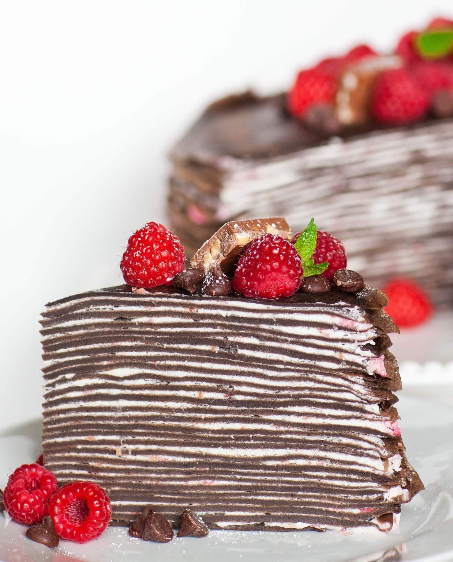 chocolate crepe cake with raspberries