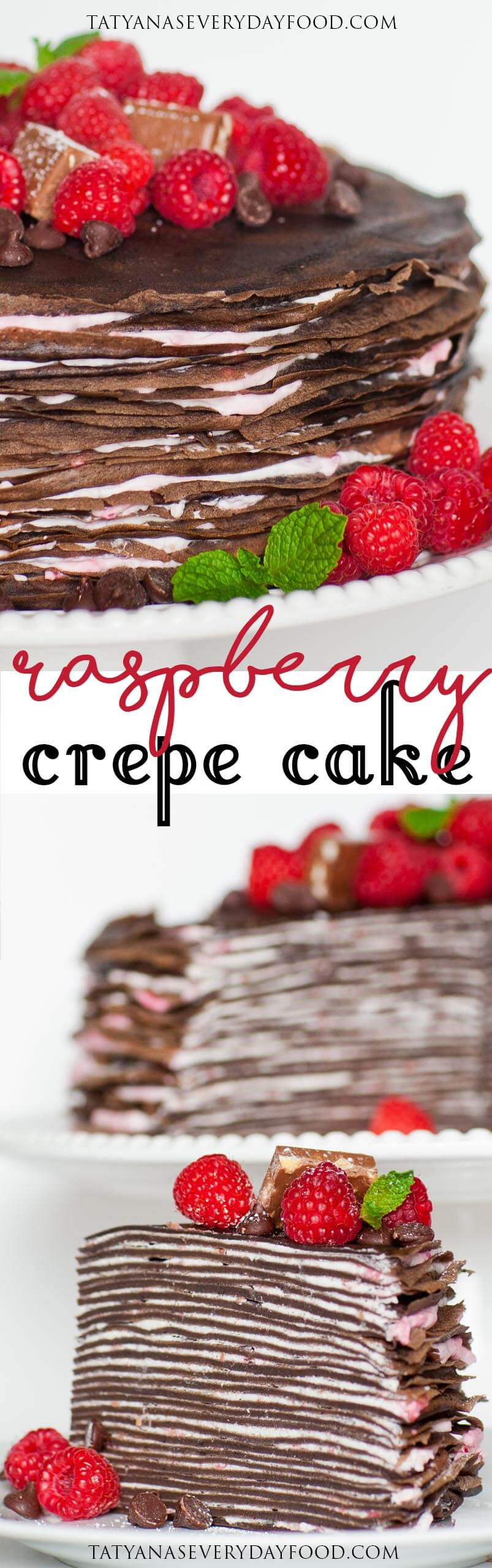 Chocolate Raspberry Crepe Cake recipe with video
