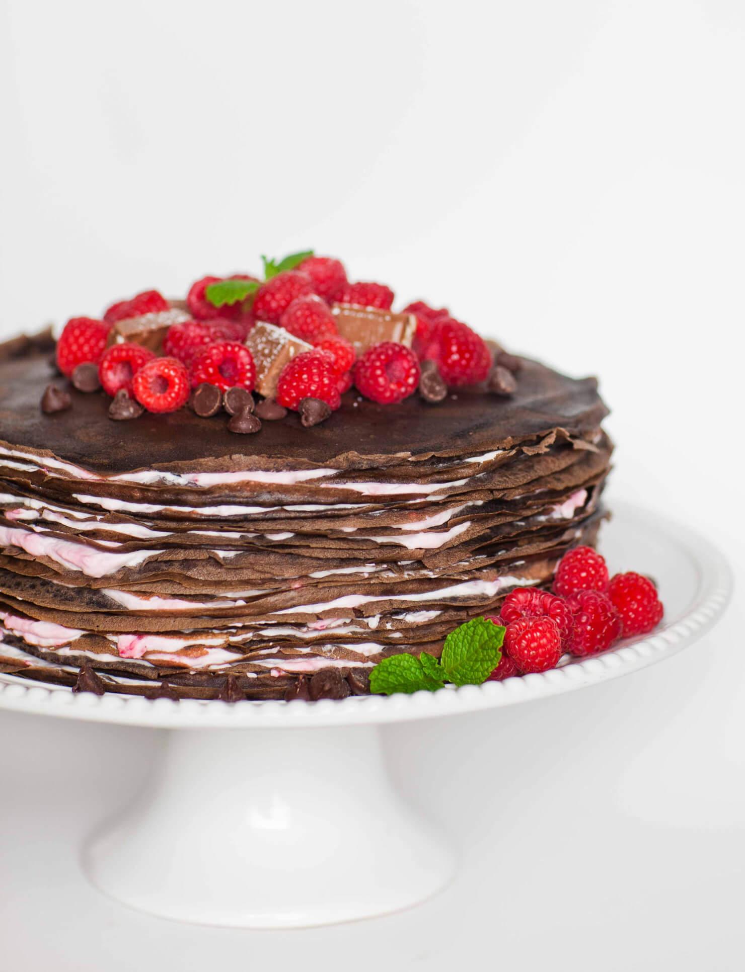 Chocolate Raspberry Crepe Cake - Tatyanas Everyday Food