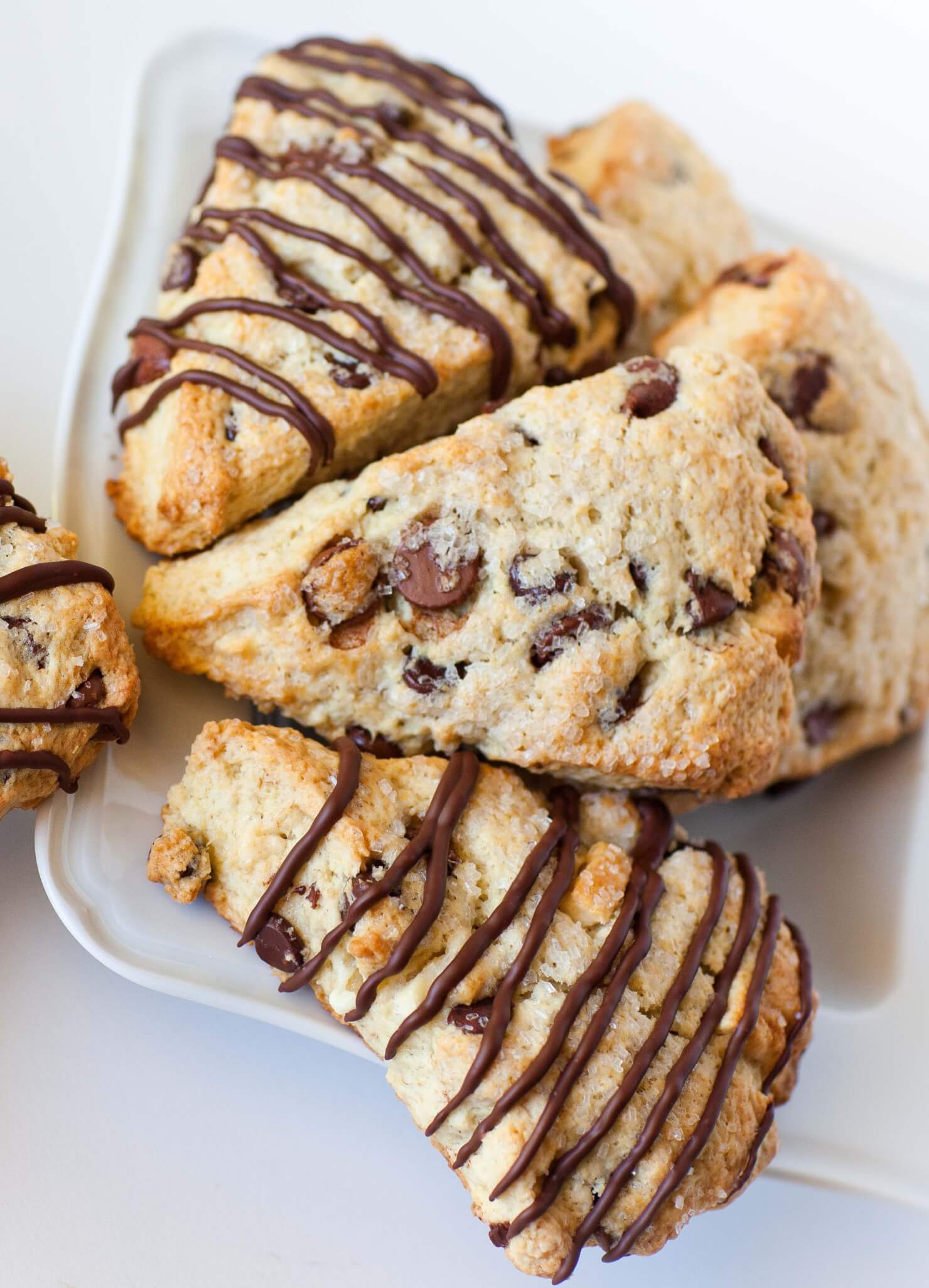 chocolate scones with chocolate drizzle
