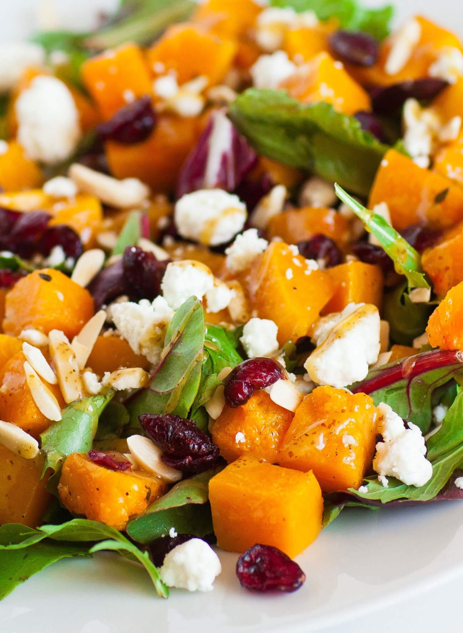 oven roasted butternut salad with goat cheese
