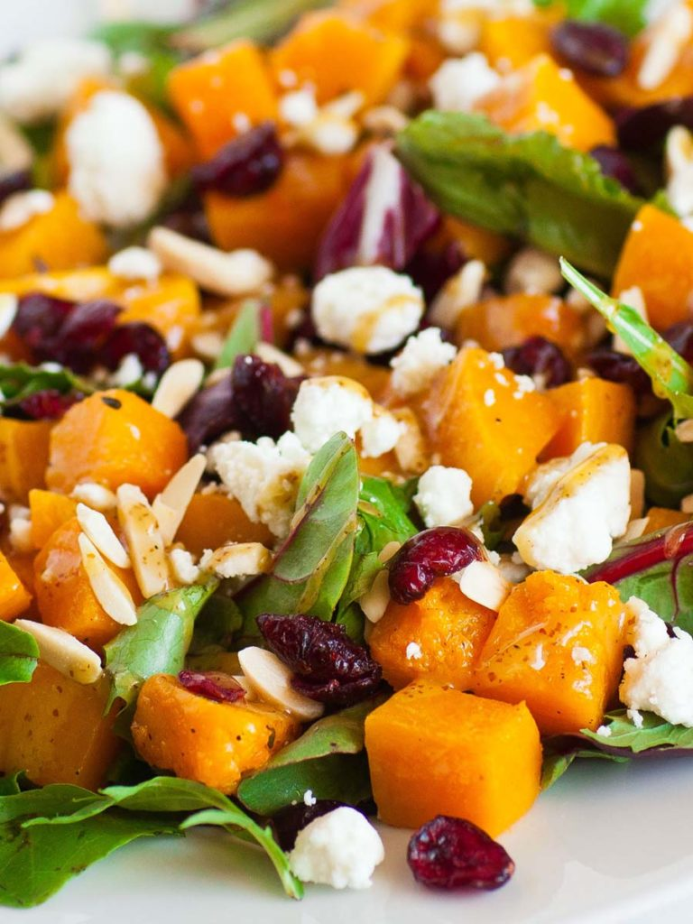 roasted squash over spring greens with goat cheese and honey mustard dressing