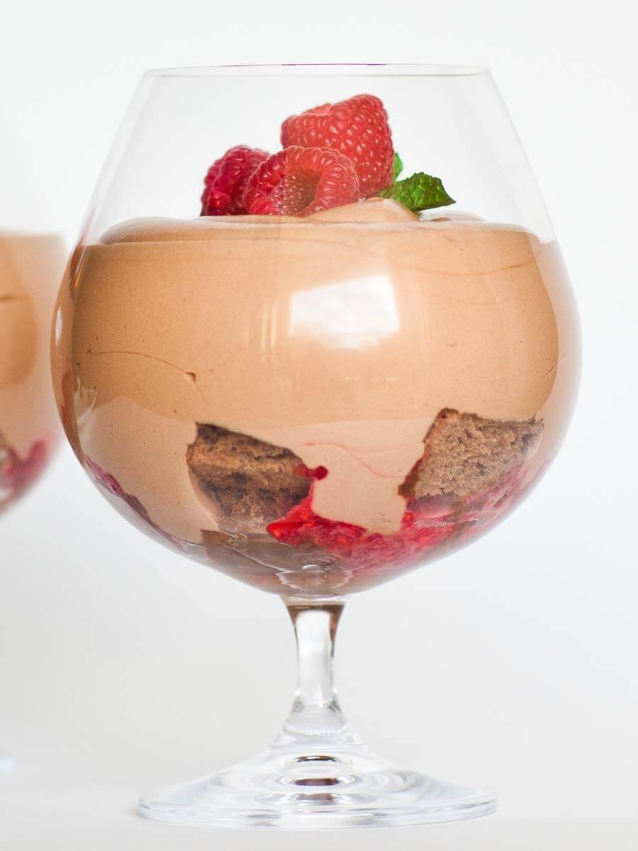 chocolate mousse parfait with raspberries and chocolate cake