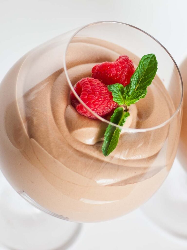 chocolate raspberry mousse parfait with fresh berries