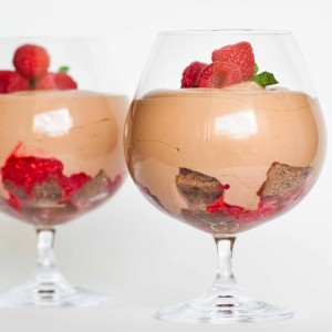 Chocolate Mousse Parfait With Caramel and Raspberries
