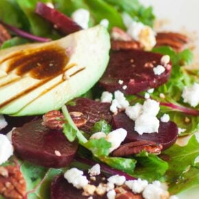 beet salad with avocado and goat cheese and oven roasted beets