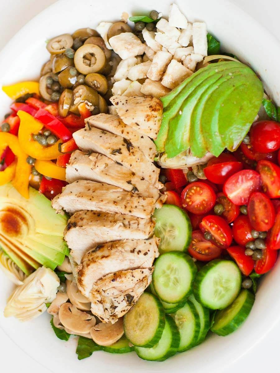 italian chicken salad recipe with olives, capers and avocado