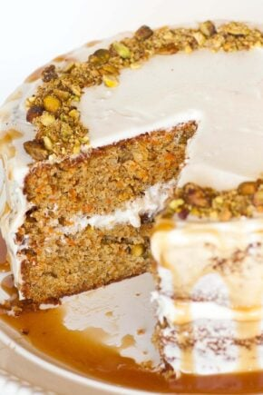 pistachio carrot cake with caramel