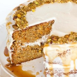 pistachio carrot cake with caramel