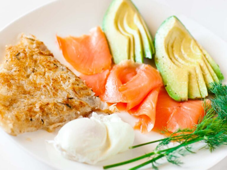 breakfast potato galette with poached egg, avocado, smoked salmon and dill