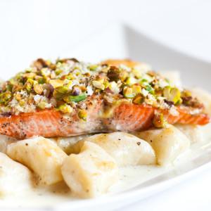 Pistachio-Crusted Salmon With Gnocchi