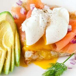poached egg over smoked salmon