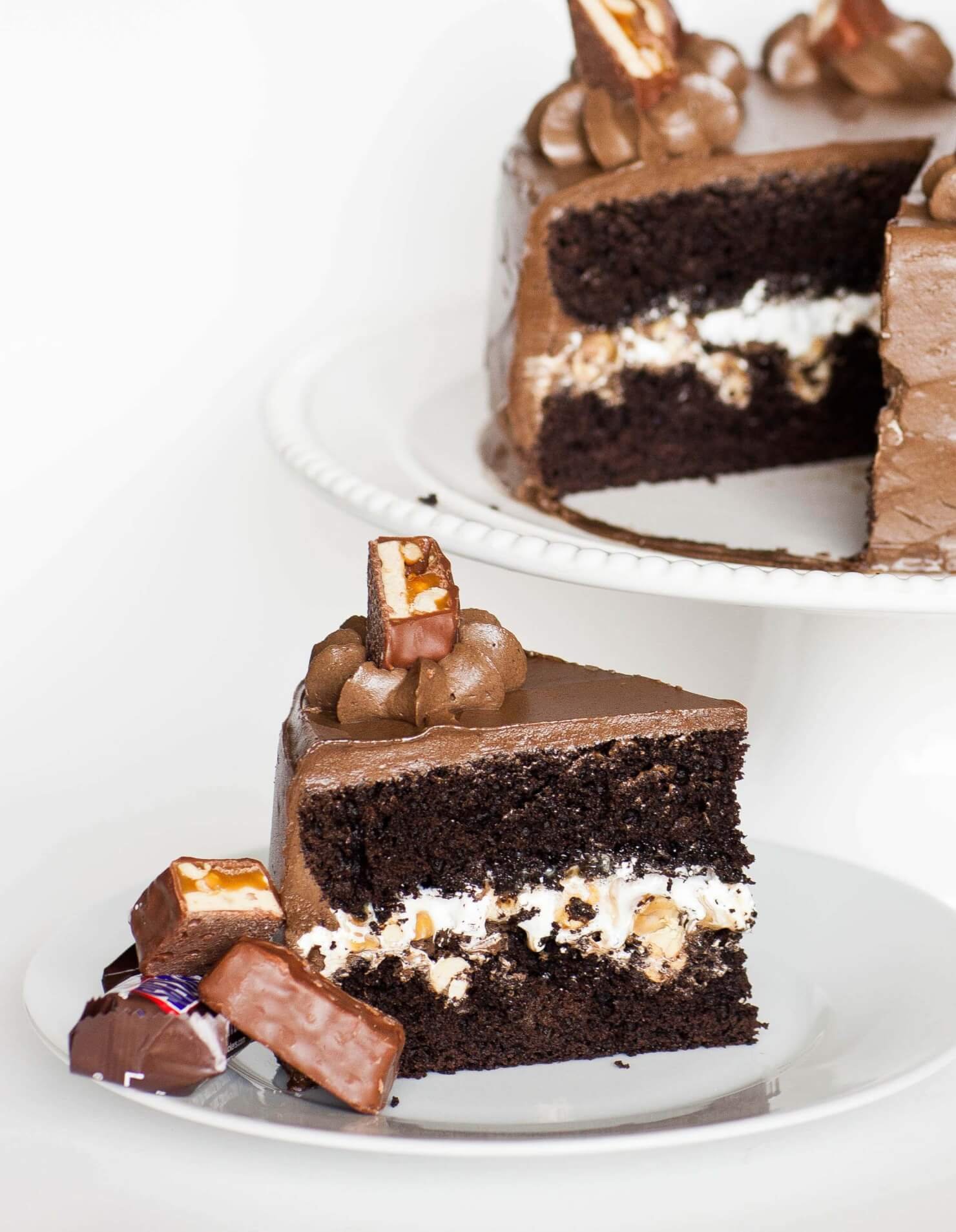 Snickers chocolate cake with peanut filling