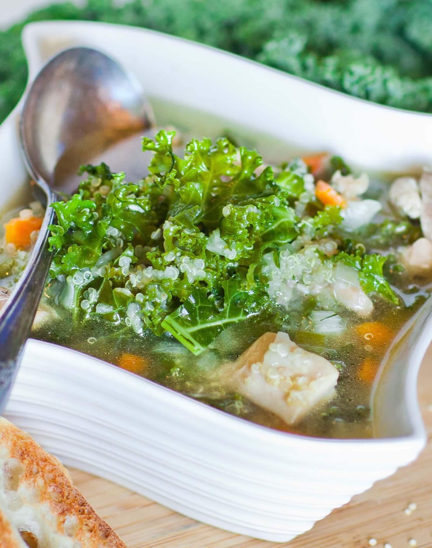 kale chicken soup with quinoa