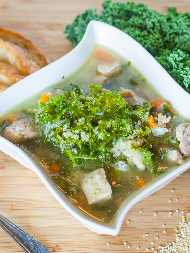kale soup with chicken and quinoa