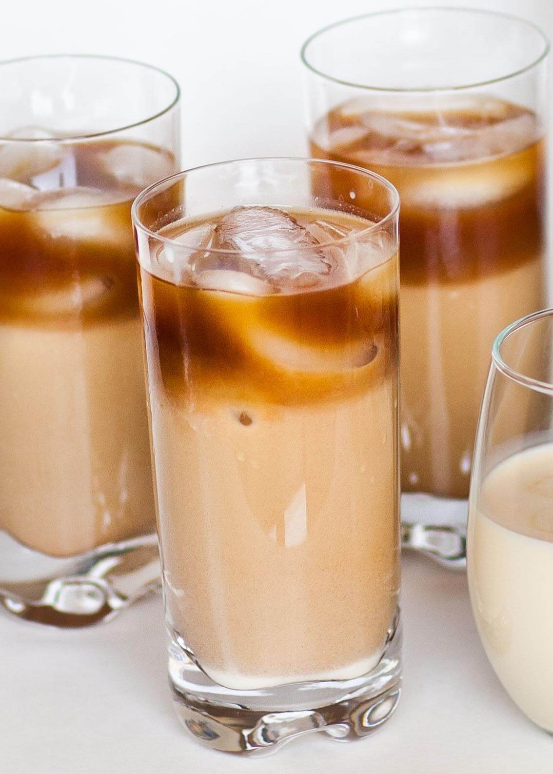 iced thai coffee in tall glasses