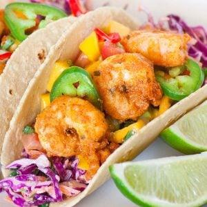 mango shrimp tacos with lime
