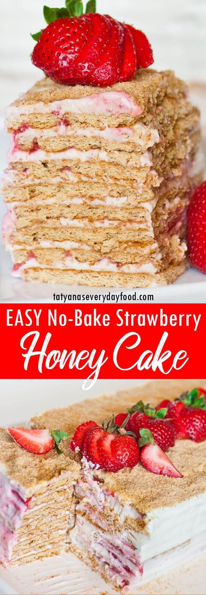 No-Bake Strawberry Honey Cake video recipe