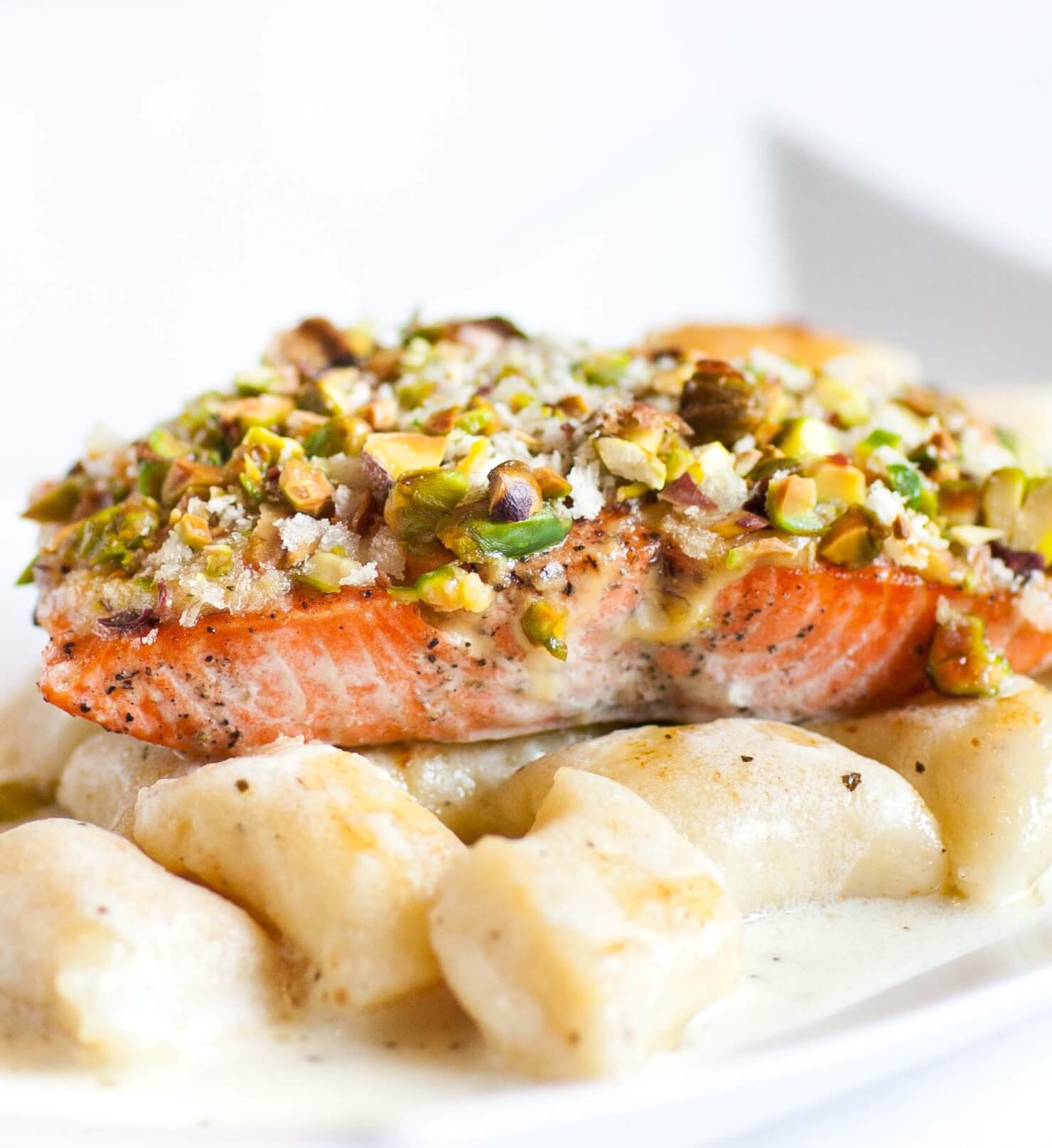 Pistachio-Crusted Salmon with Wilted Spinach