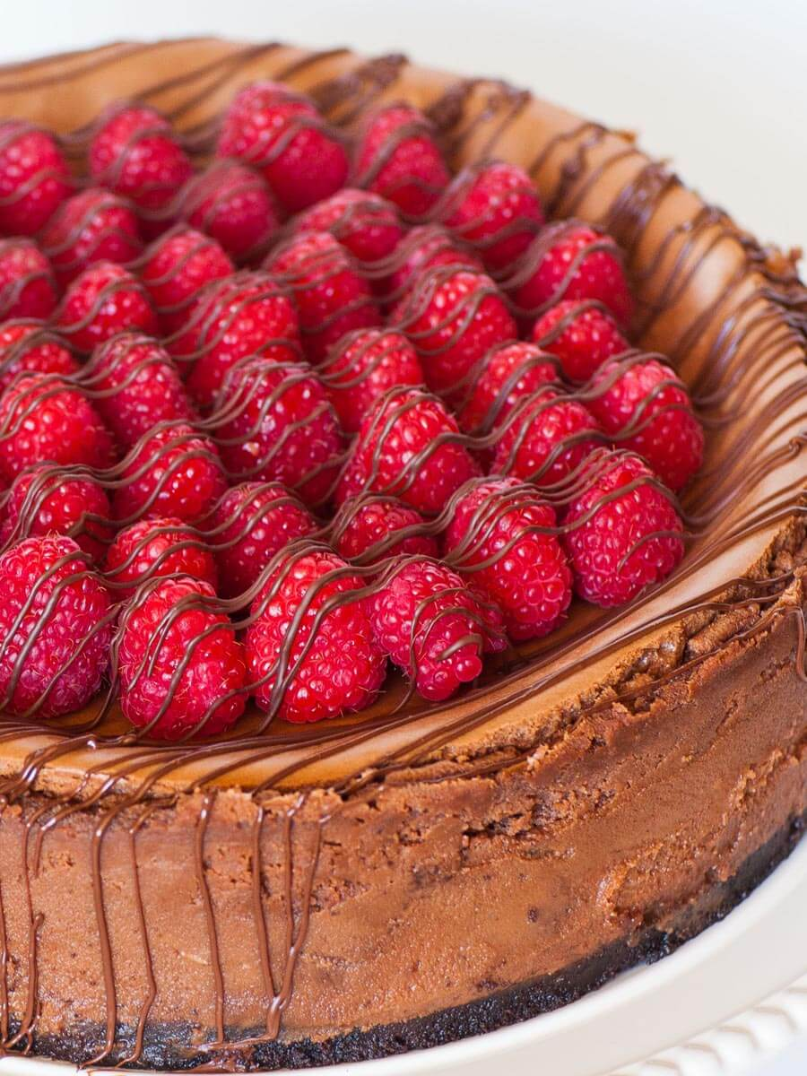 chocolate raspberry cheesecake with caramel