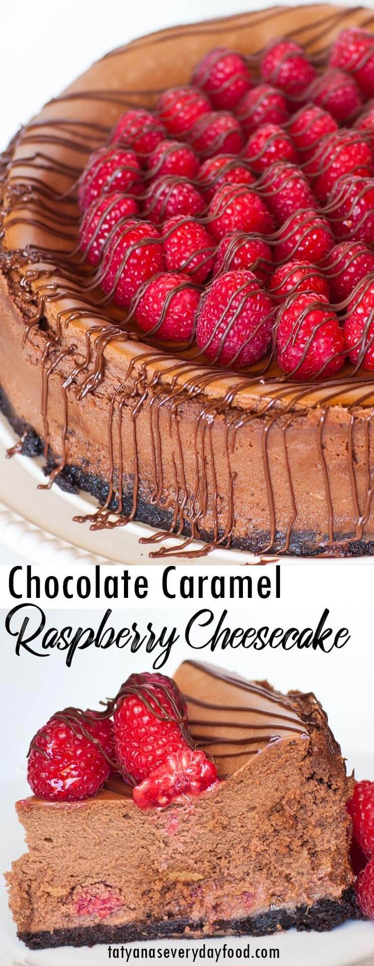Chocolate Caramel Raspberry Cheesecake video recipe