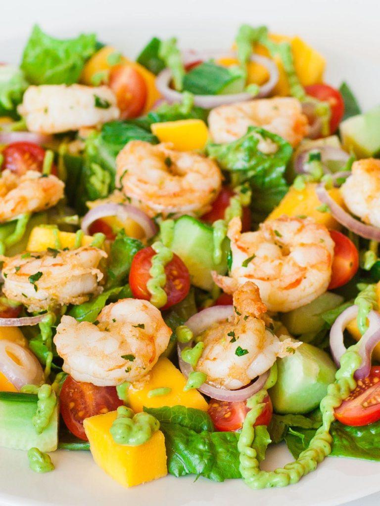 mango seafood salad with shrimp and avocado dressing