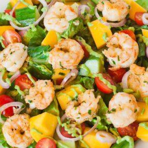 Mango Shrimp Salad with avocado dressing