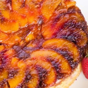 nectarine upside down cake with sour cream cake batter
