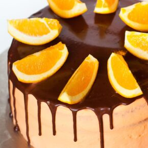 chocolate orange cake with orange buttercream and chocolate ganache